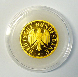 1 DM Goldmünze 2001 in Kapsel