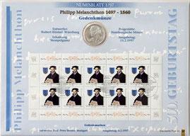 10 DM Numisblatt Melanchthon 1997