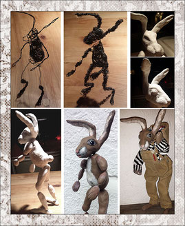 Hare, ca. 30cm, flexible wire with polymer clay, worker jeans and striped sweater, putting a bsaket on his back for eastereggs, shown in six various states of production