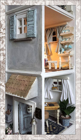 """custom made heavy & large wooden dollhouse """"skyscraper"""" with four rooms: office, living room, kitchen, sleeping room, all items handmade -you see the open door on the grundfloor and the porch roof above it."""