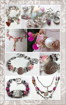 Four examples of customized energy jewelry, bracelets and necklaces with silver, gold and precious crystals- wedding jewelry set, bridesmaid's giveaway bracelets, birthday present and a numerologic masterbracelet.  Unique fine silver pendants.