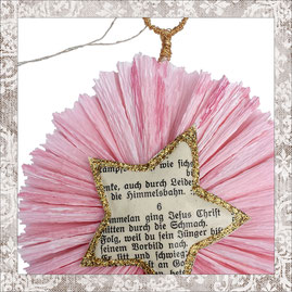 christmas hanger made out of vintage songbook pages, formed to stars with glitter on crepe paper, genuine gold plated hook