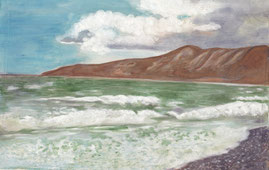 Морской пейзаж выполнен в авторской технике - акварель по шелку.