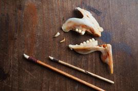 Utensilien fuer Kintsugi aus den Zaehnen eines Fisches