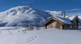 Haus in Norwegen im Winter
