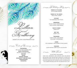 peacock wedding program