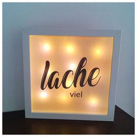 LED Bilderrahmen, LED mit verschiedenen Texten, LED Bilderrahmen - lache viel