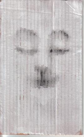 """Cara feliz 011"" 25,4x15,3cm Gesso, grafito al agua sobre cartón. 2013"