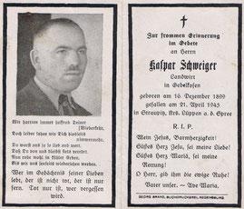 Sterbeblättchen, 1945.