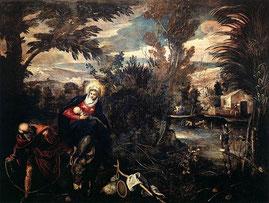 Le Tintoret, La Fuite en Égypte, 1582-1585, toile, 422 × 580 cm / Scuola Grande de San Rocco,