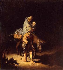 Rembrandt Harmensz van Rijn,La Fuite en Egypte (1627)  Huile sur bois  H.26 cm H.24 cm / MBA Tours