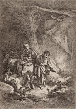 J. B. Huet, planche gravée,  La Fuite en Égypte , Musée Boucher-de-Perthes