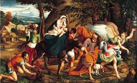 Jacopo Bassano, La Fuite en Égypte, 1544, huile sur toile, 119 × 198 cm, Norton Simon Museum
