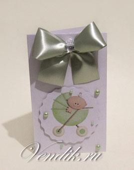Открытка ручной работы и торт из памперсов- подарок для новорожденного ребёнка