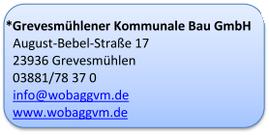 Adressdaten der Kommunalen Bau GmbH Grevesmühlen
