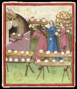 Cuisson du pain, enluminure extraite du Recueil sur la santé, XVe siècle