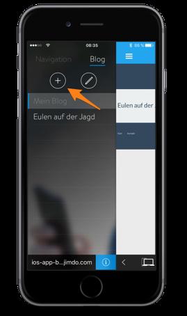 Bild: Jimdo-App iOS Blog erstellen