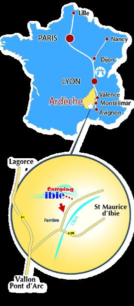 Itinéraire d'accès pour le camping Ibie en sud Ardèche