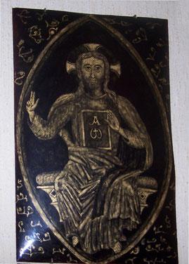 grisaille d'or des moines de Ligugé représentant le Christ en gloire de la commanderie d'Auzon