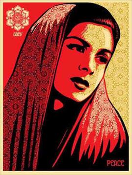 Shepard Fairey Peace Mujer