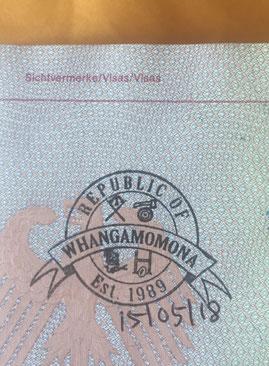 Stempel, Reisepass, Passstempel, coole, außergewöhnliche, Sonderstempel, Pass, seltene, entfernte, Touristenstempel, Touristen Stempel, Whangamomona, Neuseeland