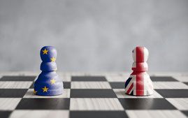 Chessmen covered in EU flag and Union Jack, Brexit scenarios, UK joins the European Economic Area