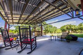 Solar Pergola provides power and mount location for Solar CenTex modules