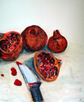Stillleben: Granataepfel mit Messer