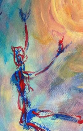 """Ausschnitt aus """"Die Sonne ist unsere Luft"""", Acryl auf Baumwolle, 50 cm x 40 cm, 2021"""