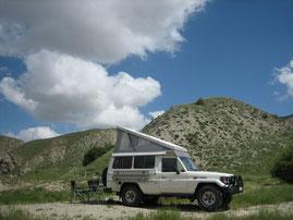 Unser Schlafplatz vor der turkmenischen Grenze