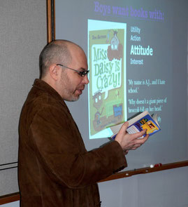 Jim Nicosia discussing Dan Gutman's My Weird School series.
