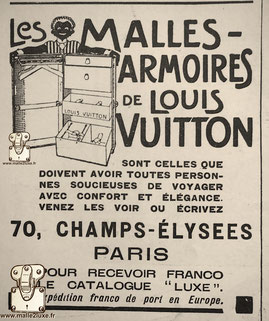 """Wardrobe Height: 90cm   LOUIS VUITTON'S MALLES-CABINETS THESE ARE THOSE THAT ALL PEOPLE CONCERNED TO TRAVEL WITH COMFORT AND ELEGANCE SHOULD HAVE. COME AND SEE THEM OR WRITE  70, CHAMPS-ELYSEES PARIS TO RECEIVE FRANCO THE """"LUXURY"""" CATALOG carriage paid in"""