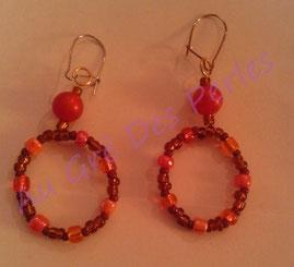 Boucles d'oreilles : rocailles et perles acryliques