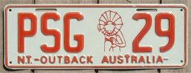 Nummernschild aus Australien NT