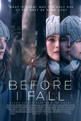 Image of first movie poster from the movie BEFORE I FALL.  Image shows multiple images of star Zoey Deutch as if spliced, representing her repeating the same day over and over again.