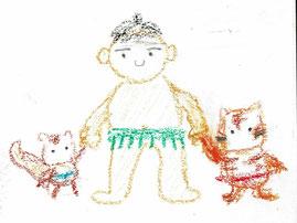 力士が子リス、子トラと手をつないでいるイラストです