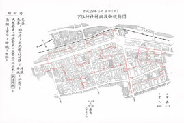 2016年(平成28年)下谷神社例大祭 本社神輿山車渡御道筋図