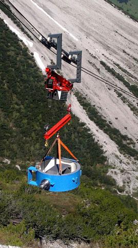Foto: Materialseilbahn mit 15 t Nutzlast am Lünersee