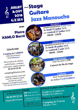 Stage guitare Jazz Manouche Camping Gers 2018