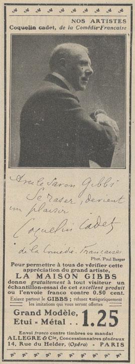 Le Monde Illustré 14 avril 1906, première pub de Gibbs