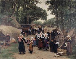 Théophile Deyrolle, L'arrivée au pardon de Fouesnant, 1892, huile sur toile, dépôt du musée de Pau au musée des beaux-arts de Brest métropole.