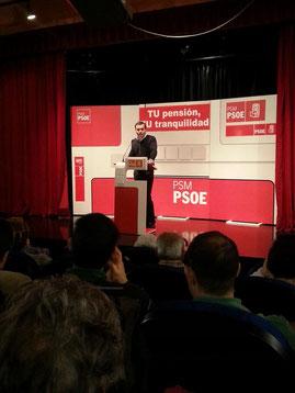 Tomás Gómez durante su discurso en Vicálvaro.