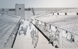 Castra Regina, Rekonstruktion einer Lagergasse mit Soldatenunterkünften