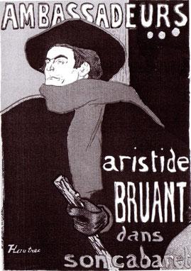 """Henri de Toulouse Lautrec """"Ambassadeurs"""" Aristide BRUANT vor 1897 Plakat."""