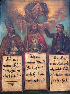 Links der Klerus, in der Mitte der Adel, rechts die Bauern und der Rest der Bevölkerung.