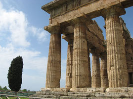 Griechischer Tempel in der Ausgrabungsstätte Paestum