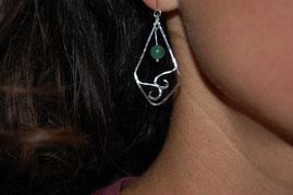 Boucles d'oreilles avec perles d'aventurine par fileuse d'étoiles