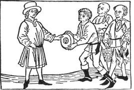 Auf dieser Darstellung (um 1447) entrichten Bauern ihrem Grundherrn den Zins in Form von Naturalien - Käse, Eier, Geflügel und ein Lamm.
