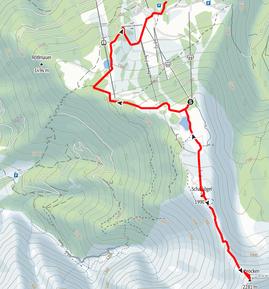 Route vom Skigebiet Hinterstoder über Schafkögel auf den Schrocken