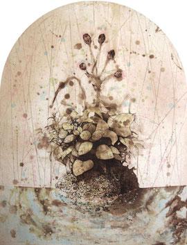やどりぎのたま 腐蝕銅板画 435x340変形